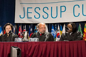 Philip C. Jessup International Law Moot Court Competition - International Court of Justice judges Xue Hanqin, Ronny Abraham, and Julia Sebutinde judging the 2013 international final between Singapore Management University and National Law School of India University. Sebutinde would judge again in the 2014 international final between Singapore Management University and University of Queensland.