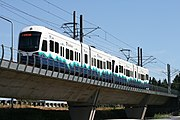 Light rail train in Tukwila, Washington