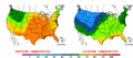 2002-10-01 Color Max-min Temperature Map NOAA.png