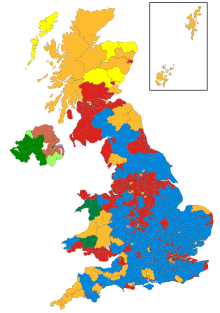 A map showing the constituency winners of the UK General Elections by their party colours.