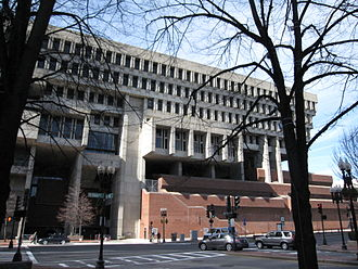 Boston City Hall - City Hall, looking up from Dock Square and Congress Street, 2010