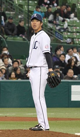 20120310 Ken Togame pitcher of the Saitama Seibu Lions, at Seibu Dome.JPG