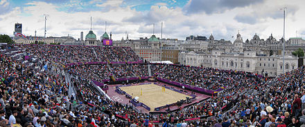 Horse Guards Parade beach volleyball stadium at the 2012 Summer Olympics in London 2012 Summer Olympics - Beach volleyball.jpg
