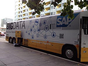 Big data - Bus wrapped with SAP Big data parked outside IDF13.