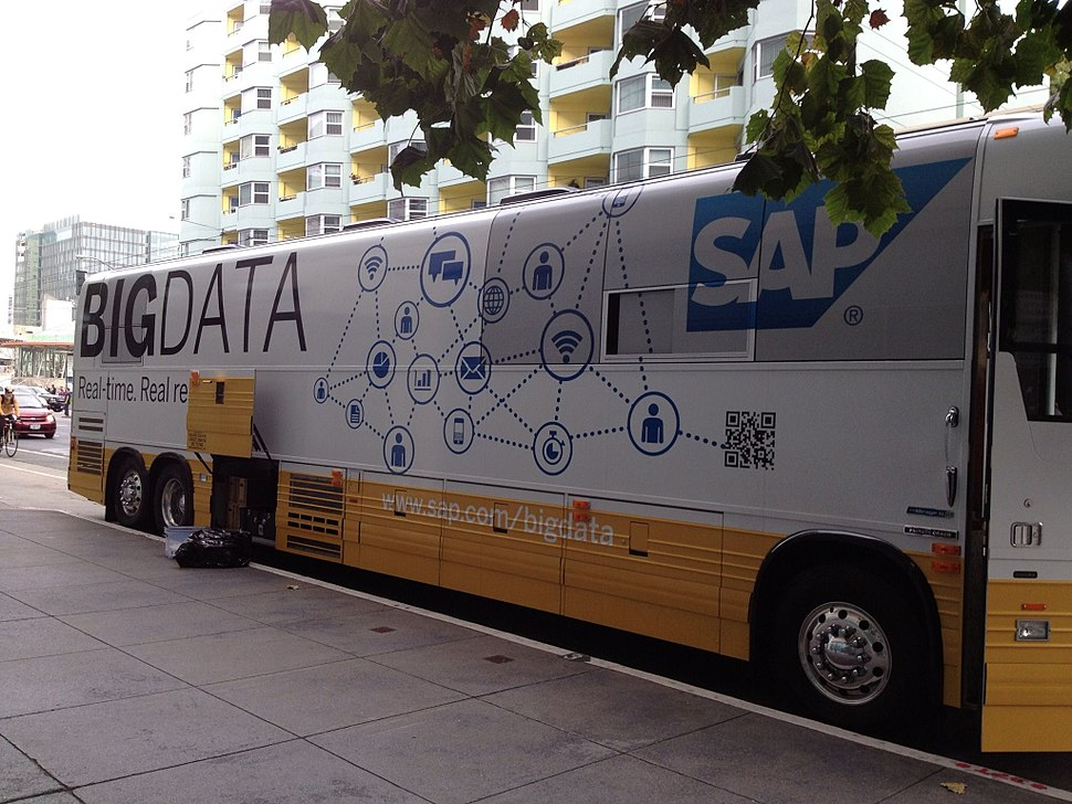 2013-09-11 Bus wrapped with SAP Big Data parked outside IDF13 (9730051783)