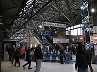 2013 at Reading station - Brunel Arcade ticket gates and old footbridge.JPG