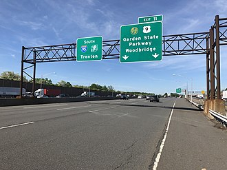 Woodbridge Township, New Jersey - View south along the New Jersey Turnpike (I-95) at the interchange with the Garden State Parkway and US 9 in Woodbridge