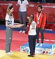 2018-10-07 Judo Girls' 44 kg at 2018 Summer Youth Olympics – Victory ceremony (Martin Rulsch) 09.jpg