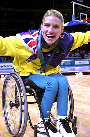 Lisa Edmonds - Edmonds (nee O'Nion) celebrates winning silver at the 2000 Sydney Paralympics