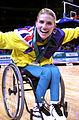 291000 - Wheelchair basketball Lisa O'Nion post game silver medal - 3b - 2000 Sydney medal photo.jpg