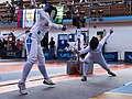2nd Leonidas Pirgos Fencing Tournament. Lunge from the right, counter-attack from the left, double touch.jpg