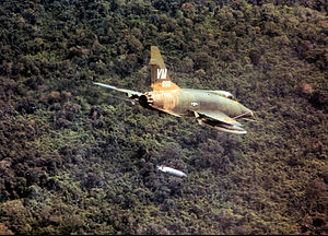 352d Tactical Fighter Squadron - F-100D of the 352d Tactical Fighter Squadron dropping napalm near Bien Hoa