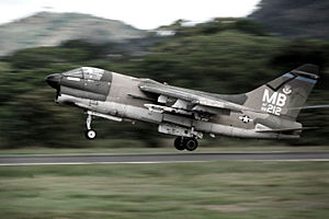 United States Air Forces Southern Command - An A-7D of the 355 TFS/354 TFW takes off from Howard AFB in the Panama Canal Zone during a 1977 deployment.