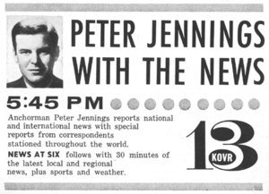 KOVR - A 1965 advertisement for then ABC affiliate KOVR touting Peter Jennings as anchor of Peter Jennings with the News.