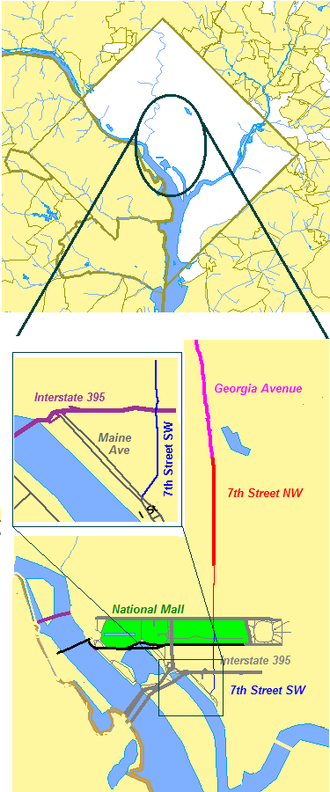 7th Street (Washington, D.C.) - Map of Washington, D.C. showing 7th Street NW and SW and its connection to Georgia Avenue