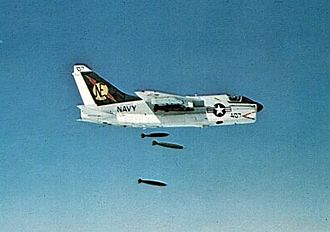 1967 USS Forrestal fire - A US Navy A-7 Corsair drops a load of Mark 83 bombs; the relentless bombing campaign had led to the Navy's stocks of Mark 83 bombs dwindling, and had forced on them the use of World War II surplus ordnance, often in poor condition, to maintain the punishing mission rate.