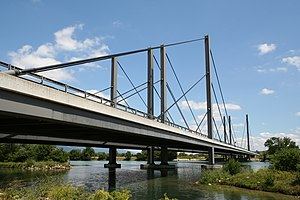A5 motorway (Switzerland) - Bridge of the highway A5 over the Aare river. Municipalities Grenchen and Arch, Switzerland