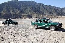 Afghanistan-Law enforcement-ANP trucks in Kunar