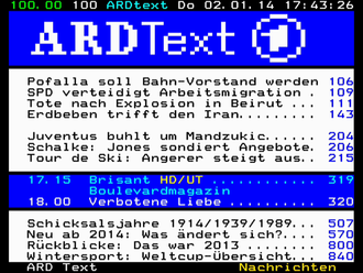 Teletext - Early-January 2014 teletext page 100 of German public broadcaster ARD