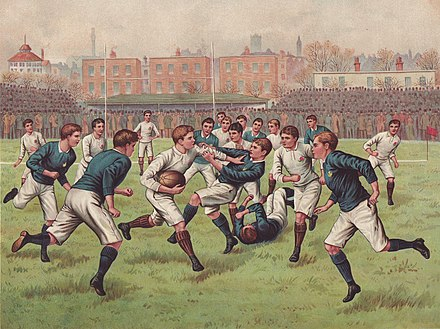 Rugby football match between England and Scotland, c. 1880 A Football Match.jpg