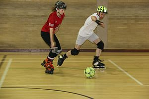 Roller soccer - A Rollersoccer match in progress