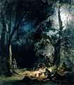 A Stop; Evening Bivouac by Karl Bodmer 1833.jpg