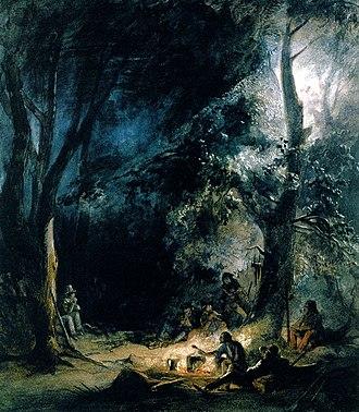 Karl Bodmer - A Stop; Evening Bivouac, 1833