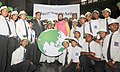 A group of select school children presenting a symbolic Globe as best wishes, to the Minister of State for Environment, Forest and Climate Change (Independent Charge), Shri Prakash Javadekar, in New Delhi. The Secretary.jpg