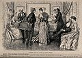 A man and woman stand talking together in the middle of the Wellcome V0040335.jpg