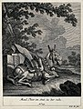 A muzzled and harnessed mule resting in the shadow of a tree Wellcome V0021152EL.jpg