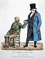 A rich physician feels the pulse of a poor, sick patient; he Wellcome L0022225.jpg