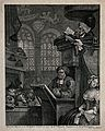 A sleepy congregation in a country church with one clergyman Wellcome V0049235.jpg