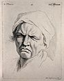 A woman's face expressing sadness. Engraving by M. Engelbrec Wellcome V0009354.jpg