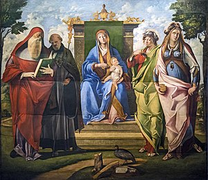 Benedetto Rusconi - Madonna and Child with Saints Jerome, Benedict, Mary Magdalene and Justina Gallerie dell'Accademia in Venice