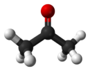 Ball and stick model of acetone