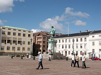 Gustaf Adolfs torg, Gothenburg - Gustaf Adolf´s square with the statue of Gustavus Adolphus of Sweden and Asplund's law court in the background.