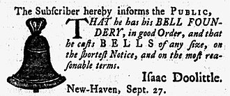 Isaac Doolittle - Advertisement for Isaac Doolittle's bell foundry in New Haven Connecticut Journal, September 29, 1784