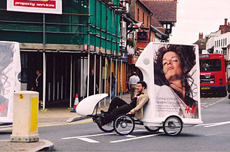 Mobile billboard - Advertising on a recumbent bicycle