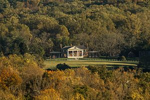 Montpelier (Orange, Virginia) - Aerial photo of the front of the mansion at James Madison's Montpelier