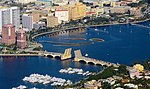 Aerial view of Royal Park Bridge in West Palm Beach FL opened for a boat (2014).jpg