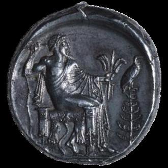 Aetna (city) - ΑΙΤΝΑΙΟΝ  Head of bearded Silenus to the right; beneath, scarabaeus.