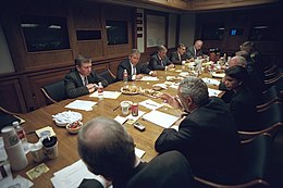 After addressing the nation, President George W. Bush meets with his National Security Council.jpg
