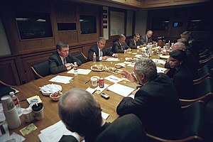 Presidential Emergency Operations Center - Image: After addressing the nation, President George W. Bush meets with his National Security Council