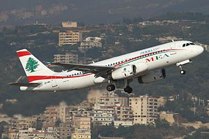 Middle East Airlines - The 5000th Airbus A320 built, delivered to Middle East Airlines, taking off from Beirut Airport