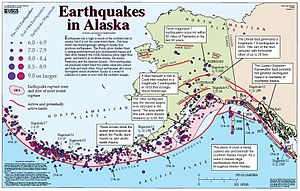 Denali Fault - Tectonic map of Alaska and northwestern Canada showing main faults and historic earthquakes