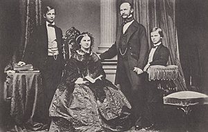 Crown Prince Ludwig of Bavaria (left) with his parents and his younger brother, Prince Otto in 1860 (Source: Wikimedia)