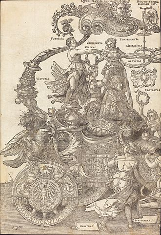 Large Triumphal Carriage - The left-most of eight prints comprising the Large Triumphal Carriage