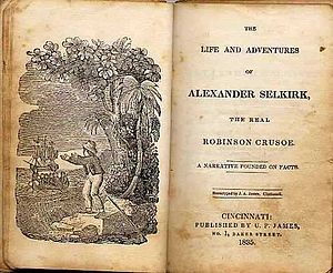 Alexander Selkirk - Title page of the book The Life and Adventures of Alexander Selkirk, the Real Robinson Crusoe (1835), written by John Howell.