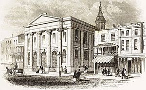 All Saints' Church, Southampton - All Saints' Church with neighbouring shops (and East Street in between) in 1852
