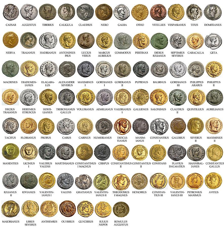 Список римских императоров с монетками